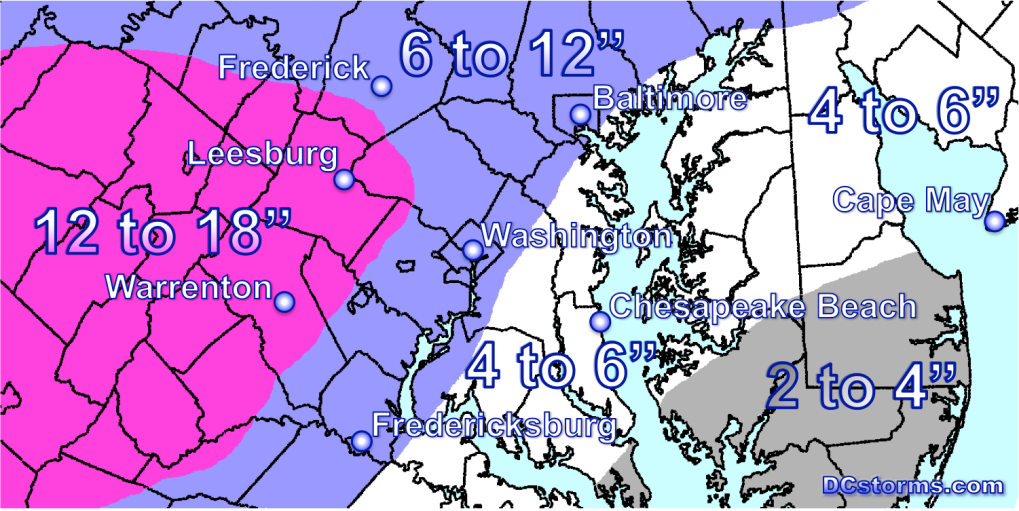 Potential Snowfall Accumulations through 12AM Thursday