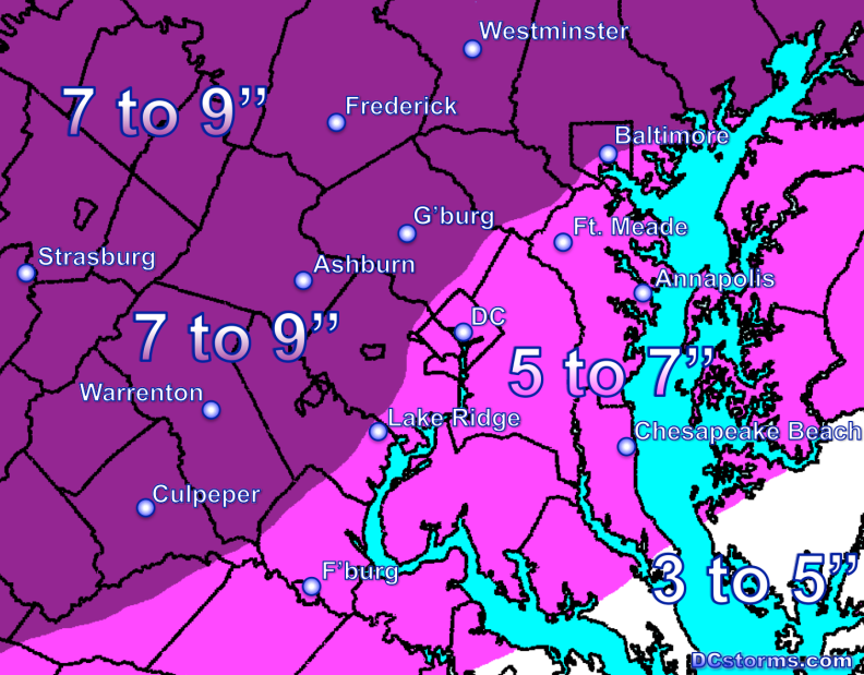 DCstorms Snowfall Potential Tuesday