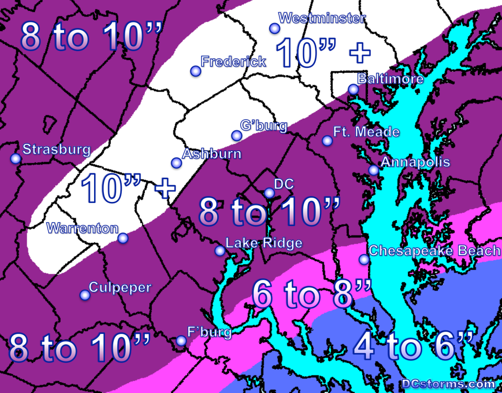 Total Storm Snowfall Accumulation by Wednesday at 3AM