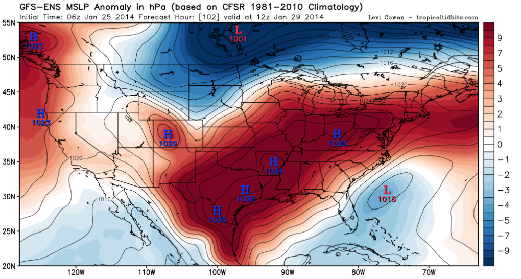 GFS Ensembles agree that a storm system will develop off of the Carolina coastline on Tuesday & Wednesday.
