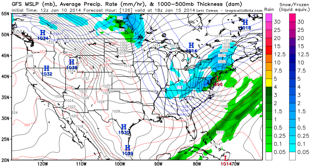 GFS shows a possible storm forming during the middle portion of next week.