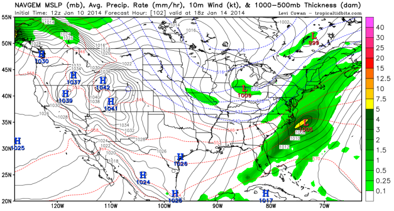 NAVGEM also shows some kind of coastal storm forming during mid-week.