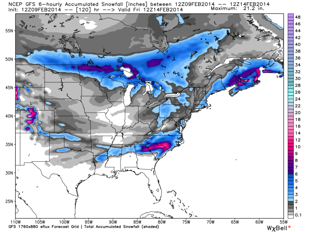 GFS - Glancing Blow across the DC Area, Image courtesy: weatherbell.com