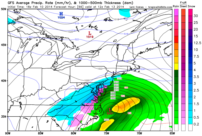 Latest GFS has moved more towards a coastal track versus yesterday's offshore track.