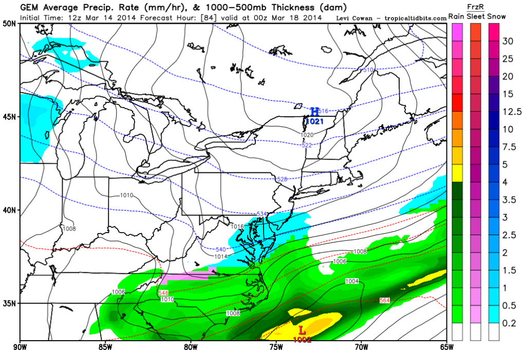 The latest Canadian forecast model shows snow falling through 6 or 7PM before ending.