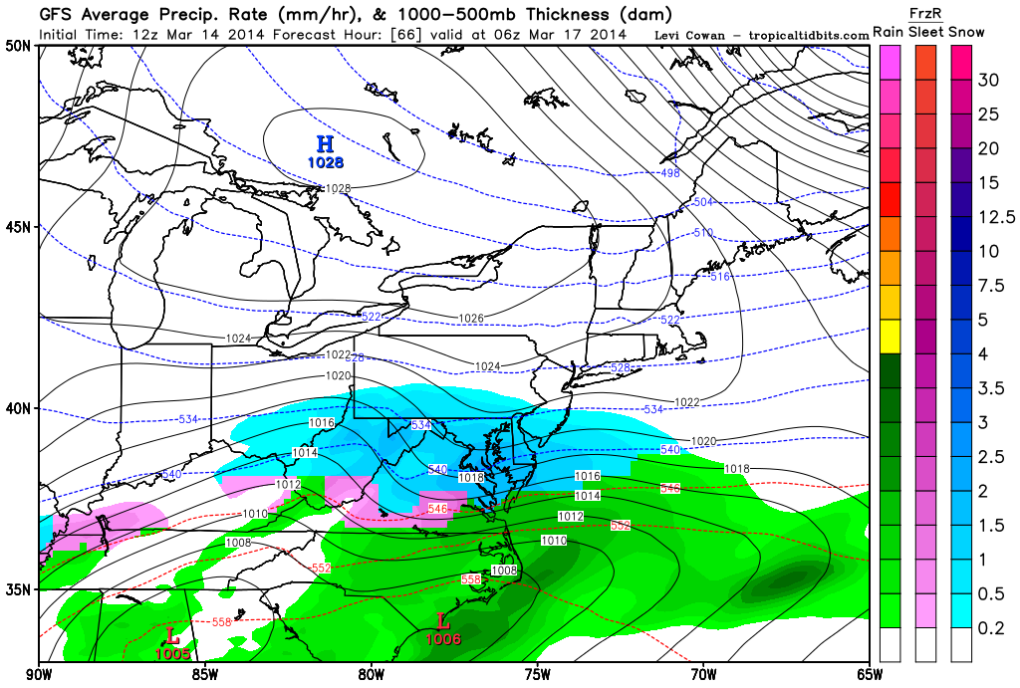 Latest GFS forecast model shows snow continuing to fall pre-dawn Monday.