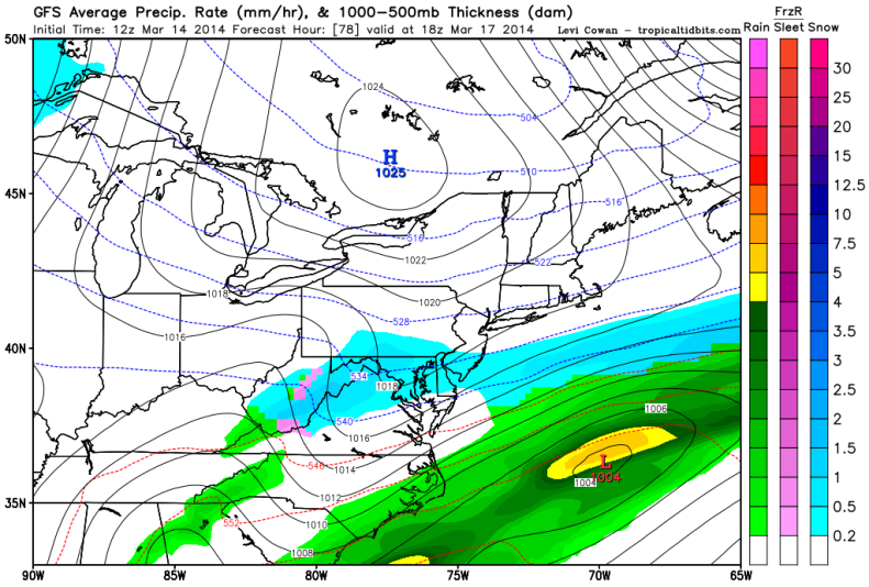Latest GFS forecast model shows snow continuing to fall Monday at 1PM.