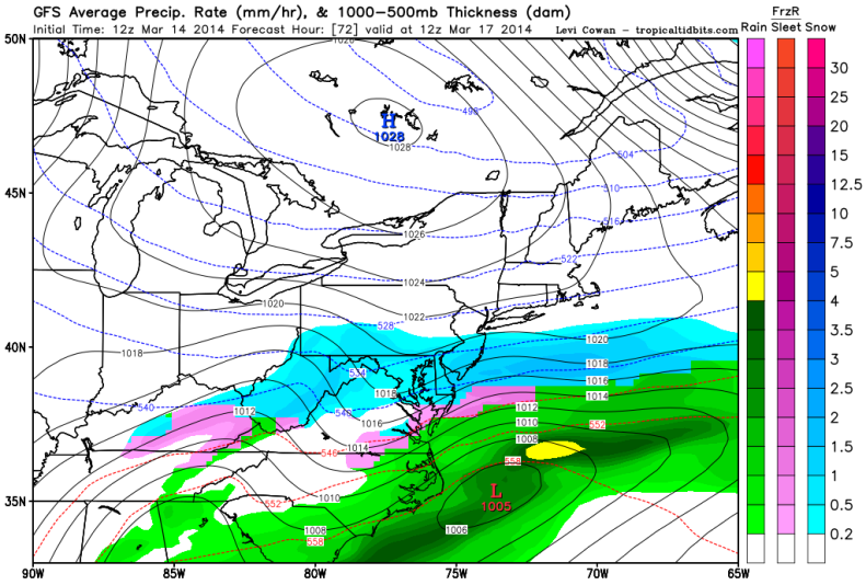Latest GFS forecast model shows snow continuing to fall Monday morning.
