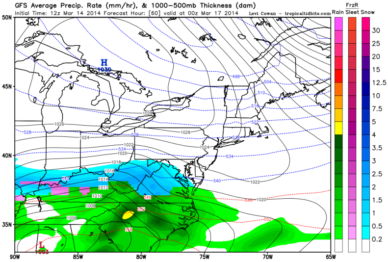 Latest GFS forecast model shows snow falling Sunday Evening.