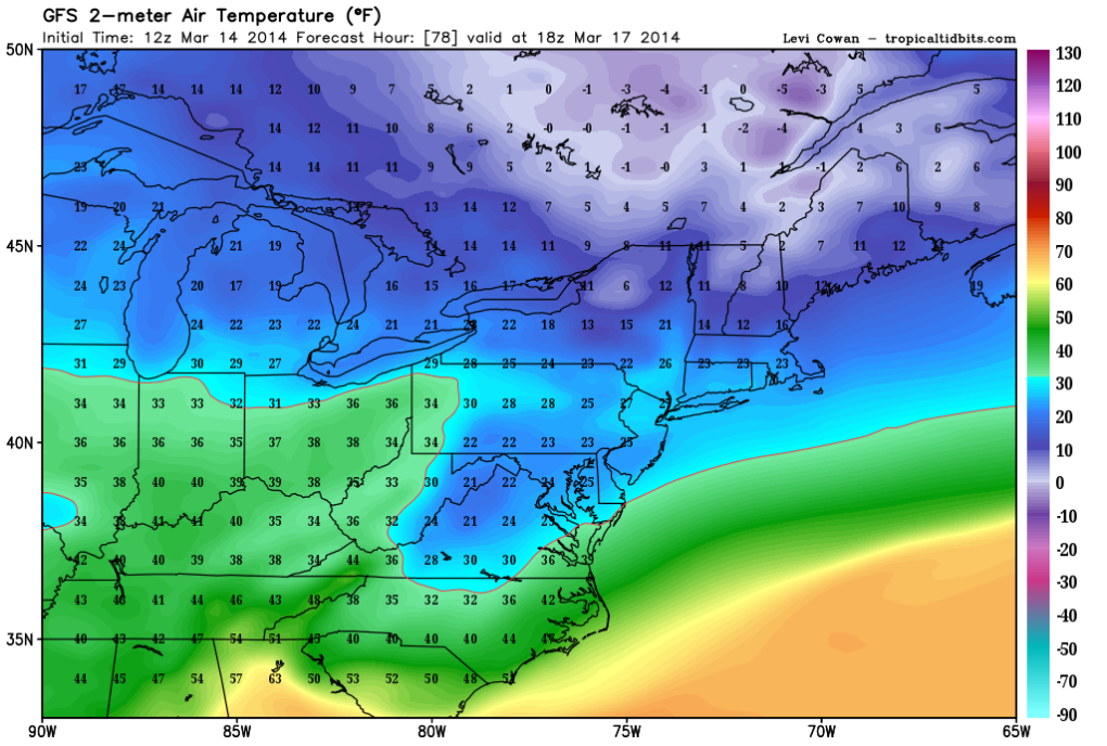 Temperature Forecast for Monday shows record cold high temperatures holding in the 20s!