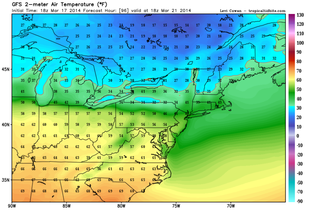 Forecast highs Friday, March 21 (GFS)