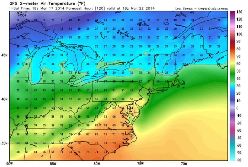 Forecast highs Saturday, March 22 (GFS)