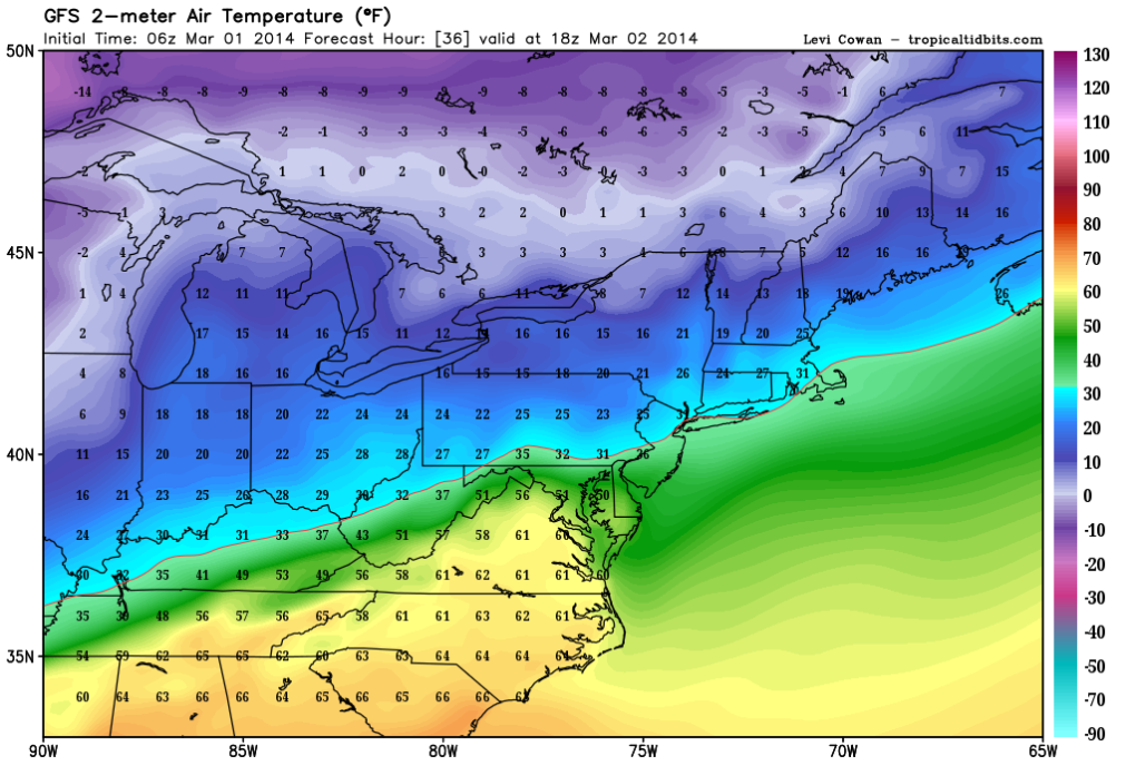 Latest GFS Forecasts Highs in the Middle 60s across the southern suburbs of D.C.