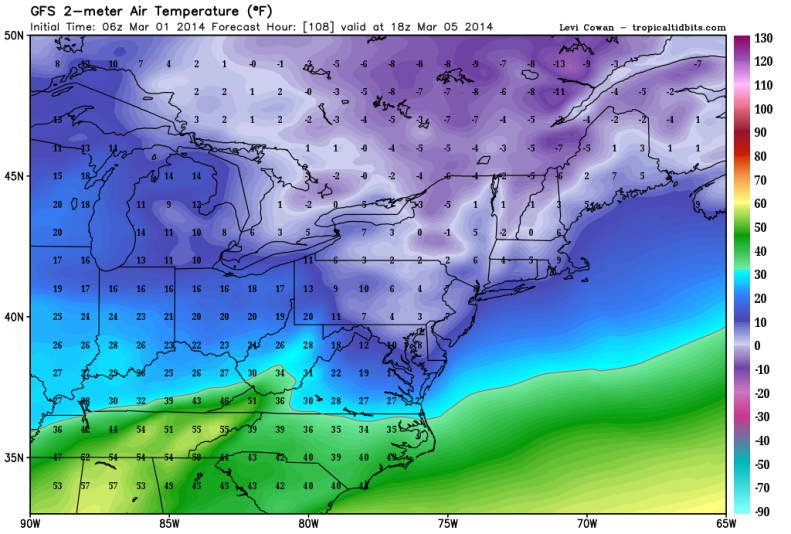 Possible Record Low Highs 1PM Wednesday March 5th