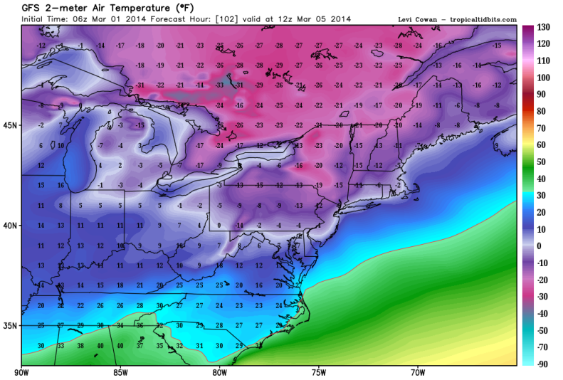Possible Record Shattering Lows Wednesday March 5th (7AM)