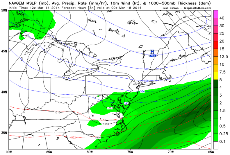 The NAVGEM model also shows snow falling through 7PM on Monday.