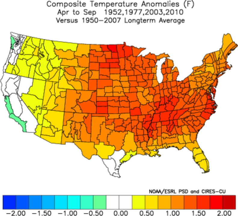 Possible Temperature Anomalies April through September (Confidence: Low-Medium)