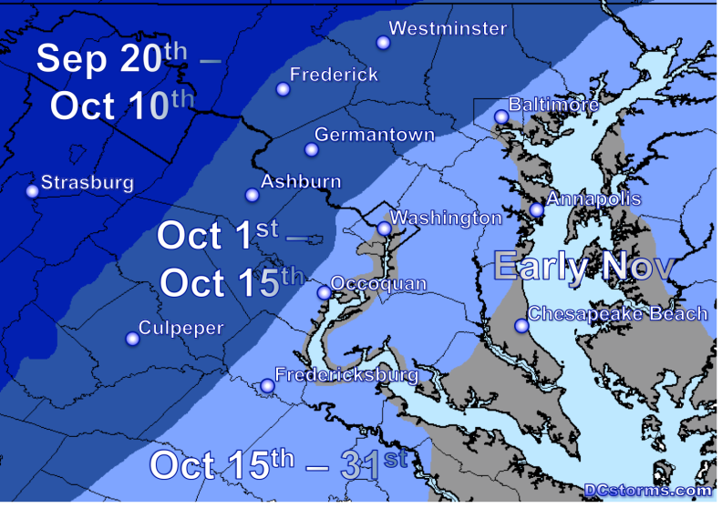 Average Time of First Frost Across the National Capital Region