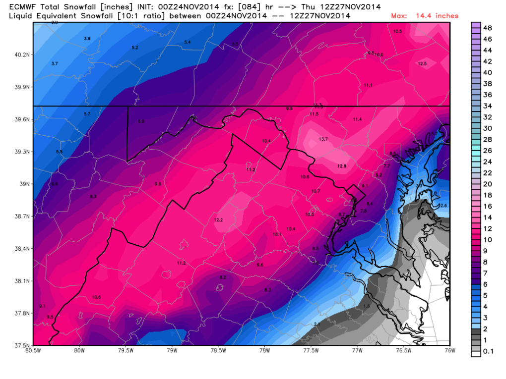European Model showing potential snowfall accumulations on Wednesday.