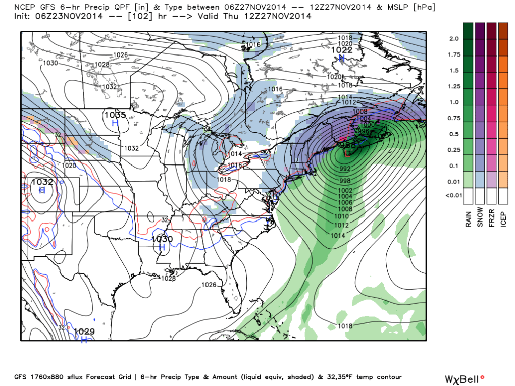 Latest GFS model forecast (weatherbell.com)