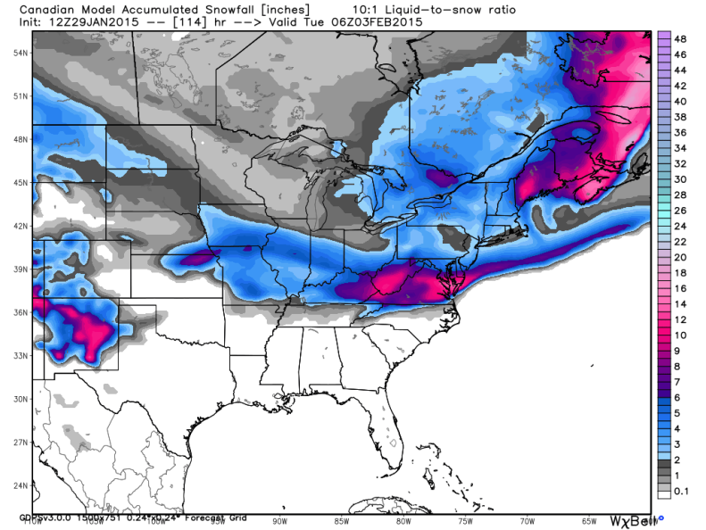 "Latest Canadian Model drops 3 to 6"" of snow across the DC Area. Image courtesy: weatherbell.com."