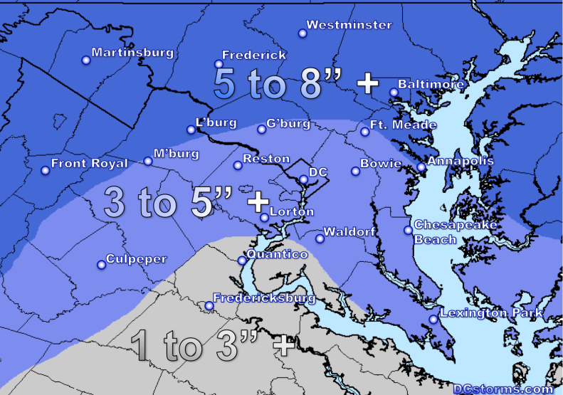 Snowfall Accumulation Potential through Tuesday Morning.