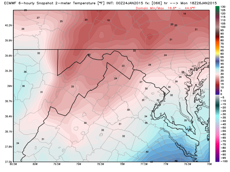 Latest Euro Model - Temperatures (7AM Monday), image courtesy weatherbell.com
