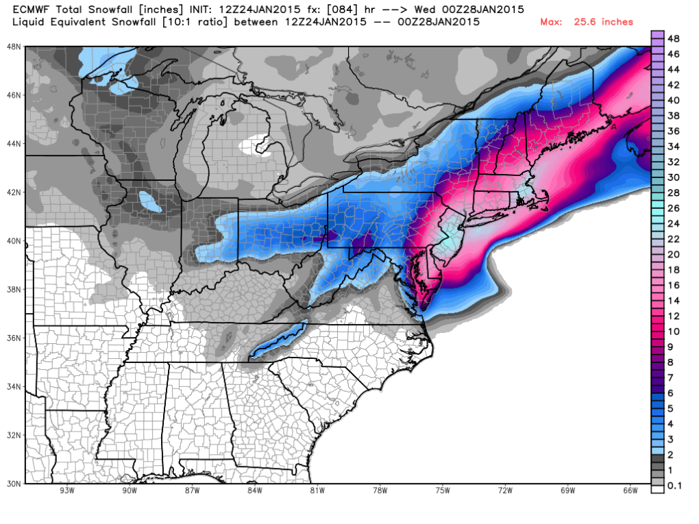 Latest European Model Snowfall Forecast; image courtesy weatherbell.com