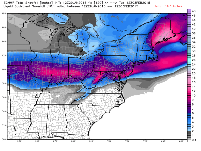 "Latest European Model drops 3 to 6"" of snow across the DC Area. Image courtesy: weatherbell.com."