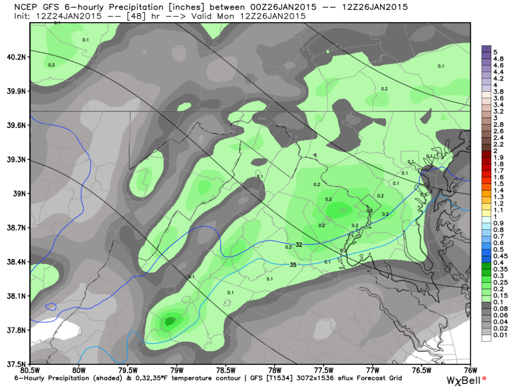 Latest GFS Liquid Accumulation -  (7AM Monday), image courtesy weatherbell.com