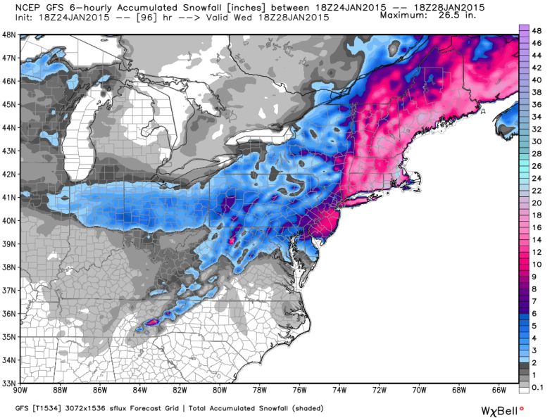 Latest GFS Model Snowfall Forecast; image courtesy weatherbell.com