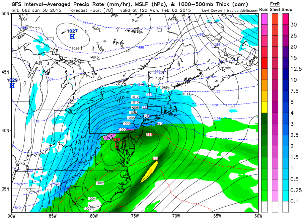 Today's model runs shifted north in track, increasing our chances of snow quickly changing over to rain or a mix.