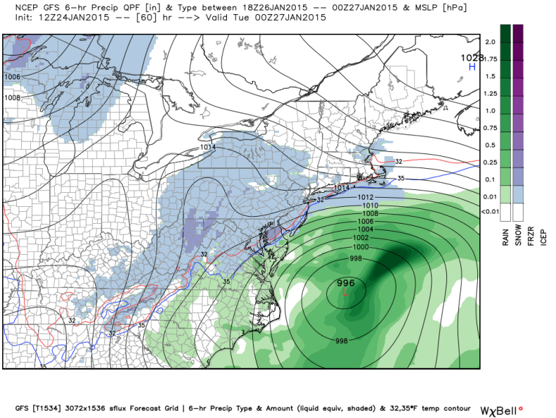 Latest GFS Model (7AM Monday), image courtesy weatherbell.com