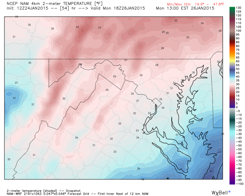 Latest NAM Model - Temperatures (7AM Monday), image courtesy weatherbell.com