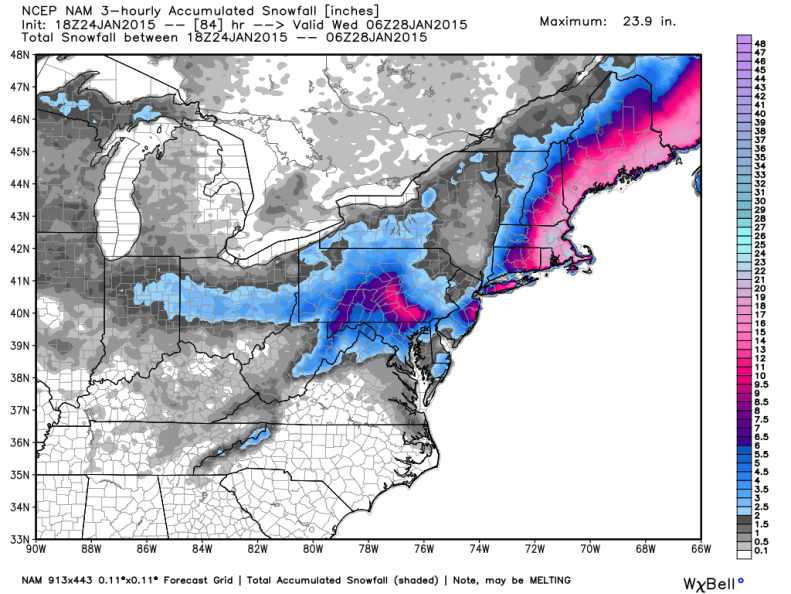 Latest NAM Model Snowfall Forecast; image courtesy weatherbell.com