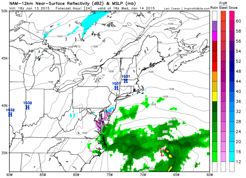 NAM model - Light Snow makes it as far west as foothills of the Blue Ridge at XX AM.