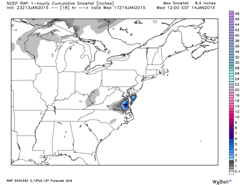 Rapid Refresh Model - Accumulating Snow remains across south central VA and the Tidewater.