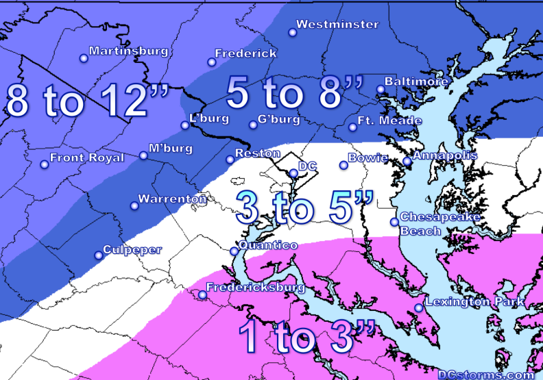 Snowfall Potential through Sunday Midnight; DCstorms.com