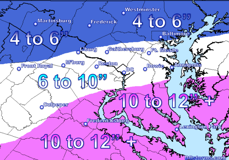 Total Snowfall Accumulation Potential through Tuesday Noon.