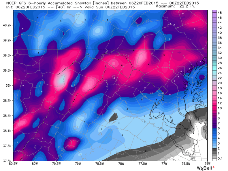 Latest Global Forecast System (GFS) Snowfall Forecast; Image courtesy Weatherbell.com