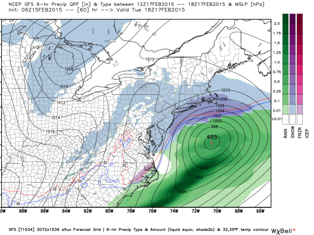 Latest GFS:  7 PM Monday Evening; Image courtesy weatherbell.com.