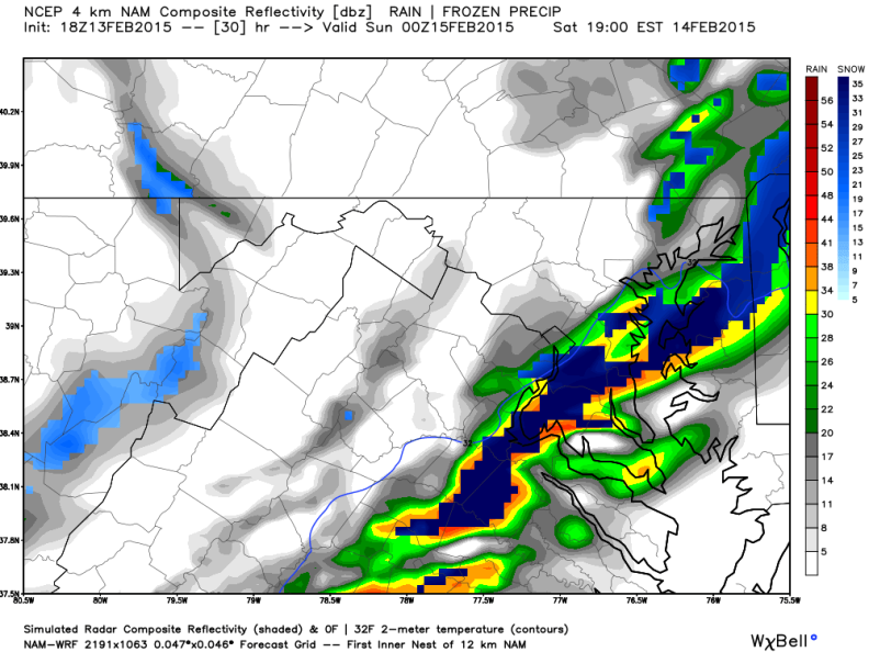 Latest NAM model Shows Heavy Snow Band Moving Across the DC Region 5PM