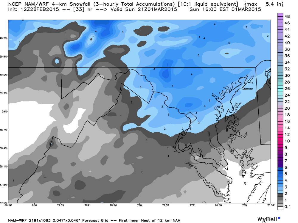 Latest NAM Model showing snowfall potential on Sunday, image courtesy weatherbell