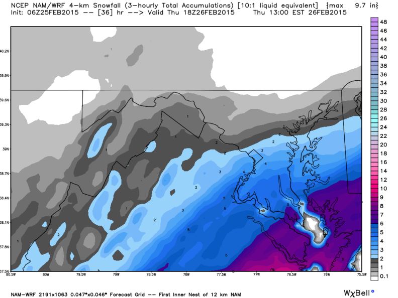 Latest NAM Snowfall Forecast; Image courtesy Weatherbell