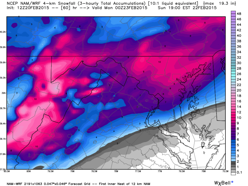 Latest North American Model (NAM) Snowfall Forecast; Image courtesy Weatherbell.com