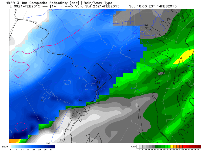 Latest HRRR (High Resolution Rapid Refresh) Model Showing Heavy Snow Squall