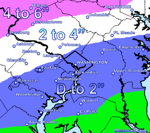 Snowfall Accumulation through 5 PM Friday