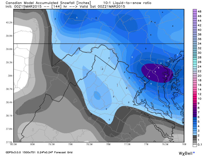 Latest Canadian Forecast Model: Snowfall Potential; image courtesy Weatherbell.