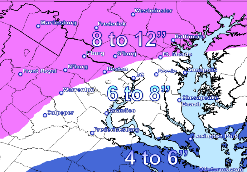DCstorms.com Snowfall potential forecast through Thursday evening across the Washington Region.