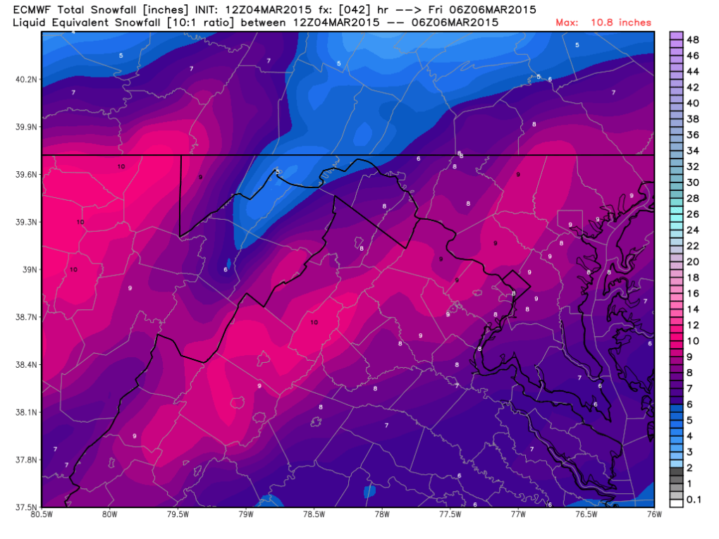 Latest European Forecast Model; Image courtesy Weatherbell.